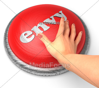 Word Envy On Button With Hand Pushing Stock Photo