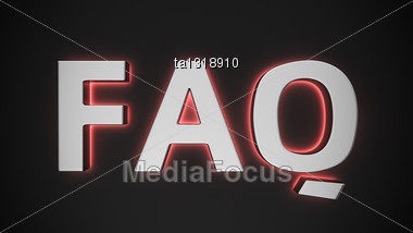Word FAQ With Red Backlight Effect On The Black Background Stock Photo