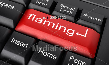 word flaming on keyboard stock image rs1120541922