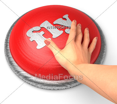 Word Fly On Button With Hand Pushing Stock Photo