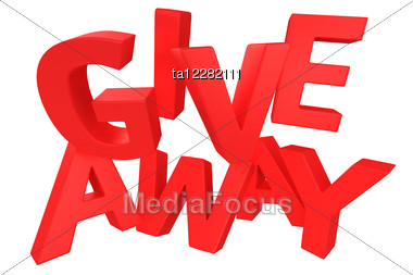 """Word """"Giveaway"""" Made By Red Letters Stock Photo"""