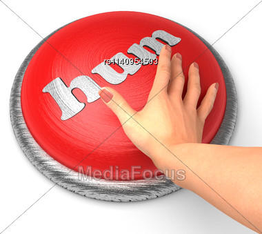 Word Hum On Button With Hand Pushing Stock Photo