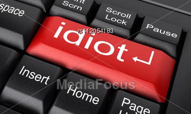 Word Idiot On Keyboard Stock Photo