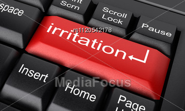 word irritation on keyboard stock photo rs1120542178