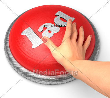 Word Lad On Button With Hand Pushing Stock Photo