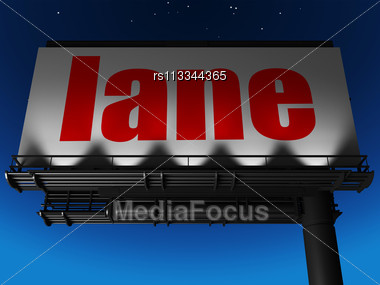 Word Lane On Billboard Stock Photo