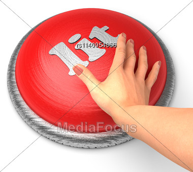 Word Lit On Button With Hand Pushing Stock Photo