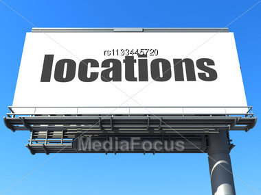 Word Locations On Billboard Stock Photo