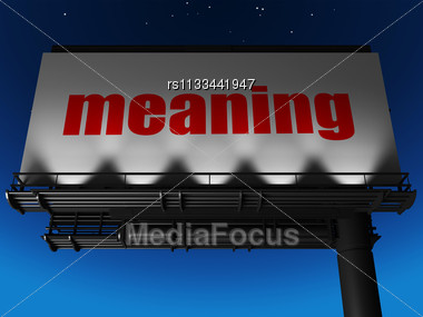 Word Meaning On Billboard Stock Photo