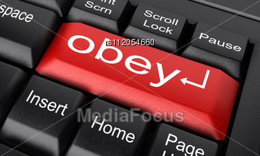 Word Obey On Keyboard Stock Photo