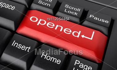 Word Opened On Keyboard Stock Photo