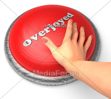 Word Overjoyed word On Button With Hand Pushing Stock Photo