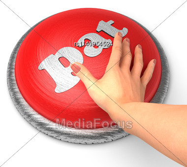 Word Pat word On Button With Hand Pushing Stock Photo