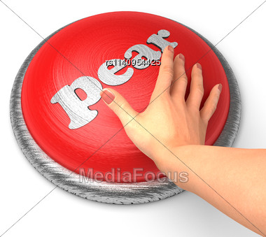 Word Pear word On Button With Hand Pushing Stock Photo