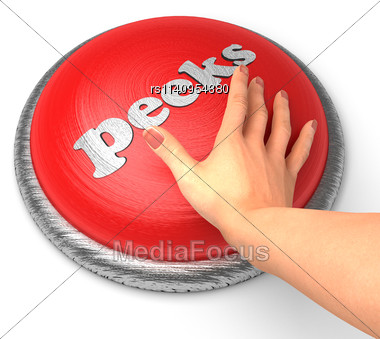 Word Peeks word On Button With Hand Pushing Stock Photo