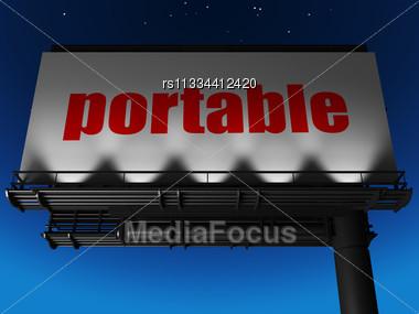 Word Portable On Billboard Stock Photo