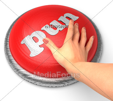 Word Pun On Button With Hand Pushing Stock Photo