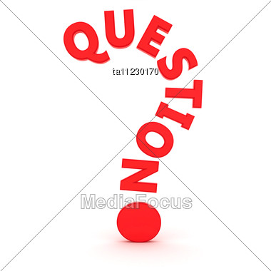 "Word ""question"" In The Shape Of Question Mark Stock Photo"