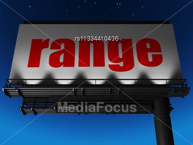 Word Range On Billboard Stock Photo