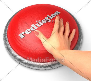 Word Reduction On Button With Hand Pushing Stock Photo