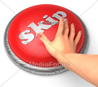 Word Skip On Button With Hand Pushing Stock Photo