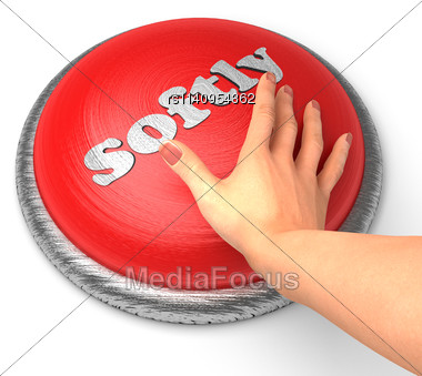 Word Softly On Button With Hand Pushing Stock Photo