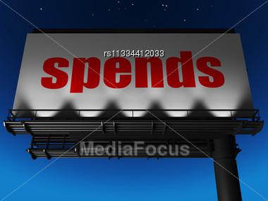 Word Spends On Billboard Stock Photo
