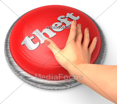 Word Theft On Button With Hand Pushing Stock Photo