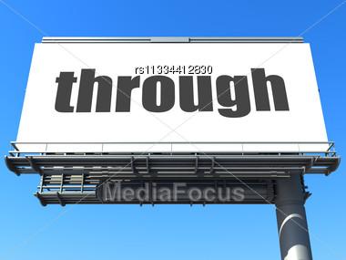 Word Through On Billboard Stock Photo