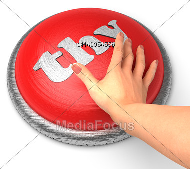 Word Thy On Button With Hand Pushing Stock Photo