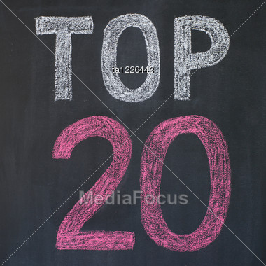 "Word ""Top 20'' Written By A Chalk On A Blackboard Stock Photo"
