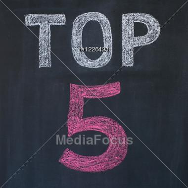 """Word """"Top 5'' Written By A Chalk On A Blackboard Stock Photo"""