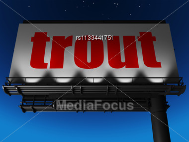 Word Trout On Billboard Stock Photo