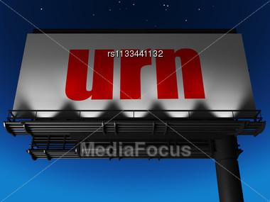 Word Urn On Billboard Stock Photo