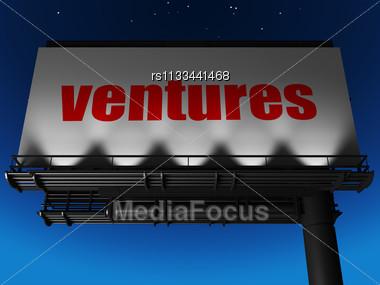 Word Ventures On Billboard Stock Photo