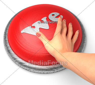 Word We On Button With Hand Pushing Stock Photo