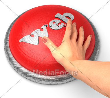 Word Web On Button With Hand Pushing Stock Photo