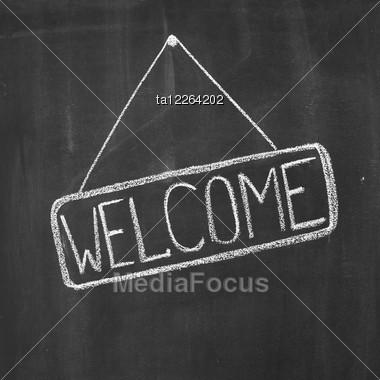 "Word ""Welcome"" Written By A Chalk On A Blackboard Stock Photo"