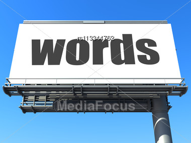 Word Words On Billboard Stock Photo