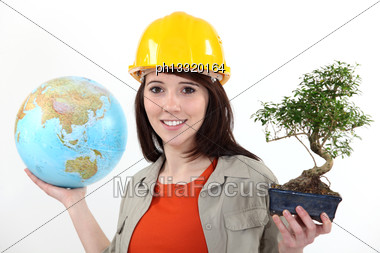 Worker Planting Trees Abroad Stock Photo
