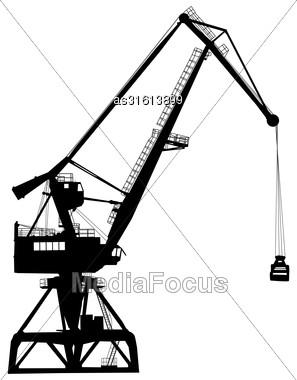 Working Crane In Sea Port For Cargo Industry Design. Vector Illustration Stock Photo