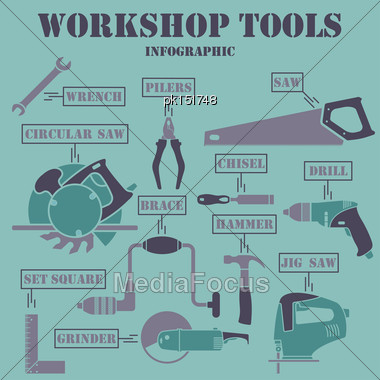 Workshop Tools Infographics. EPS 10 Vector Illustration Without Transparency Stock Photo