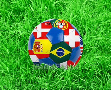World Cup Football With Nations Flags Stock Photo
