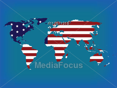 Stock Photo World Map American Flag Hi Resolution Image - Us flag and map