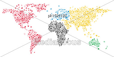 World Map With Education Icons In Contours Of Continents Stock Photo