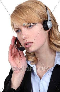 Worried Call-center Worker Stock Photo