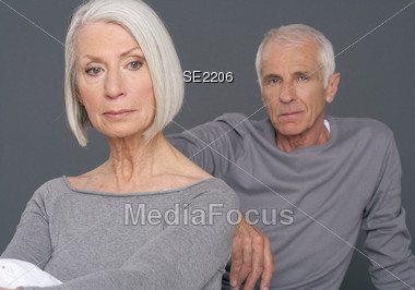 Worried Senior Couple Stock Photo