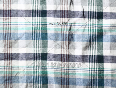 Wrinkled Fabric Plaid Texture. Cloth Background Stock Photo