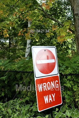 Wrong Way Sign In Middle Of Woods, Muskoka, Ontario, Canada Stock Photo