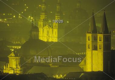Wuerzburg at Night, Germany Stock Photo